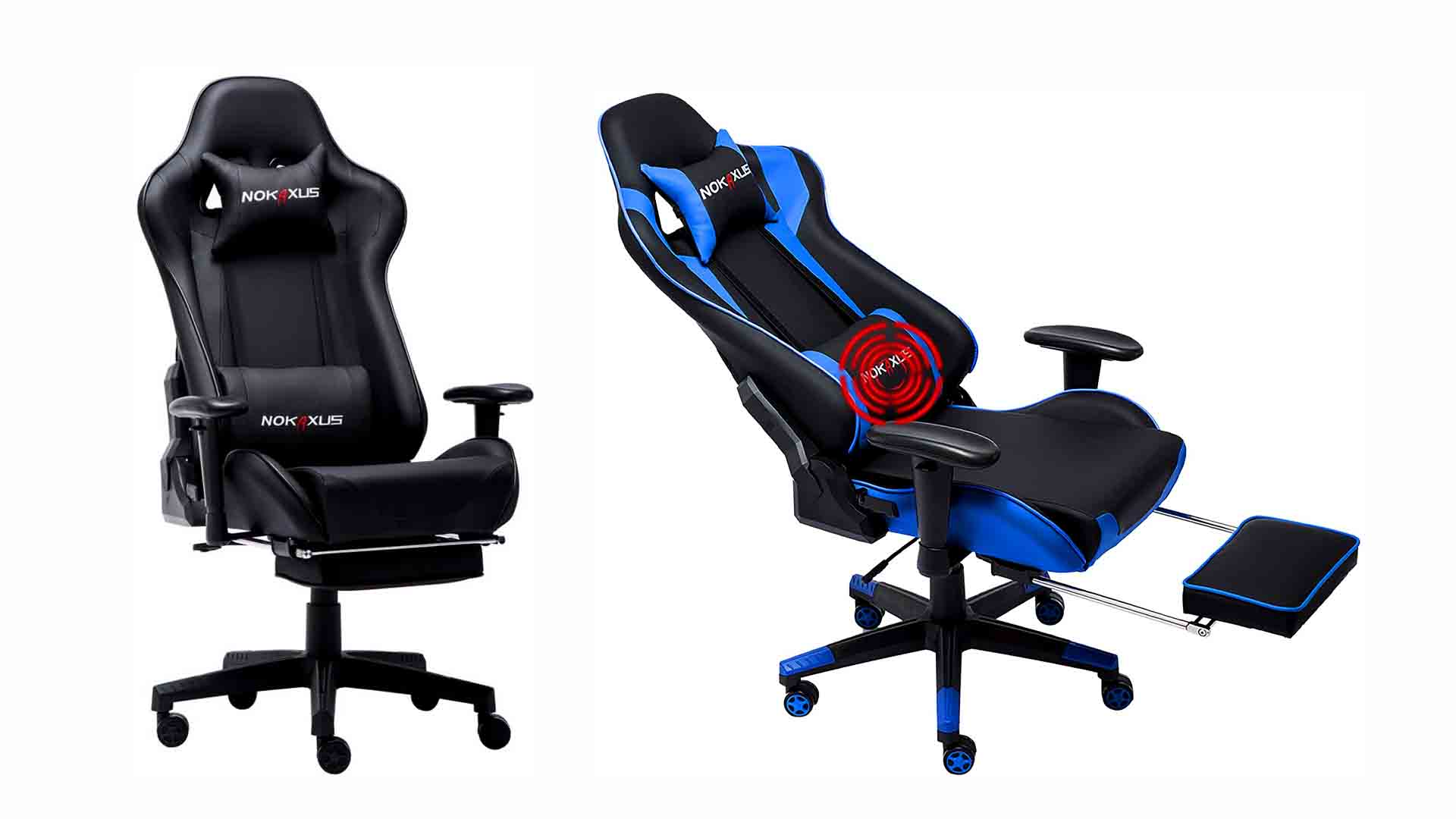 Gaming Chair with Back Support and Footrest by Nokaxus