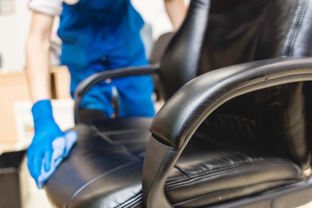 Cleaning your black and white leather office chair