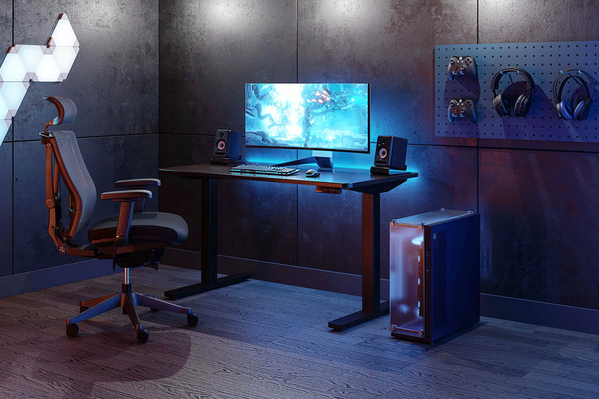An l-shaped gaming desk makes a good and preferred choice here.